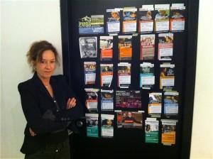 deur studio bimhuis met flyers van de serie 'VPROJazzLive in het Bimhuis'